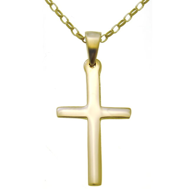 Mens or ladies plain 9ct gold cross pendant necklace with 18 gold mens or ladies plain 9ct gold cross pendant necklace with 18 gold chain aloadofball