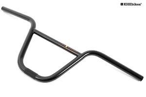 KHE-BMX-Lenker-8-034-Zoll-schwarz-Klemmung-geriffelt-nur-846g-Breite-650mm