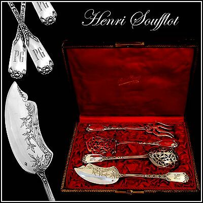SOUFFLOT Fabulous French All Sterling Silver Hors D'oeuvre Set 4 pc original box