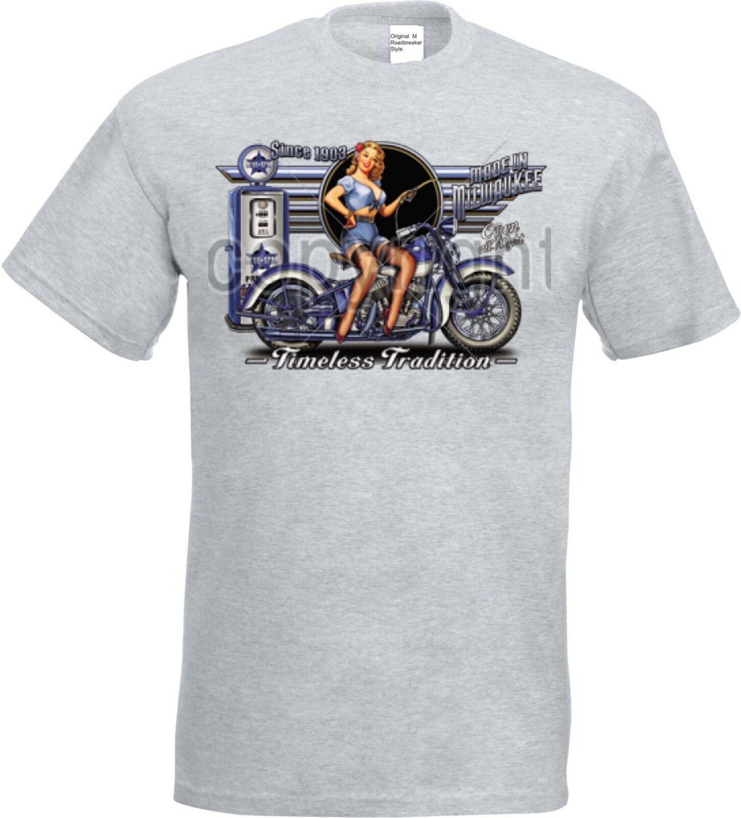 T shirt dans Ashton avec un motard-, Chopper, modèle - & Old schooldruck modèle Chopper, BLUE gaz st da5ac9