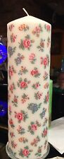 CATH KIDSTON HIGHGATE DITSY WHITE DESIGN HAND DECORATED PILLAR CANDLE 80hrs 21cm