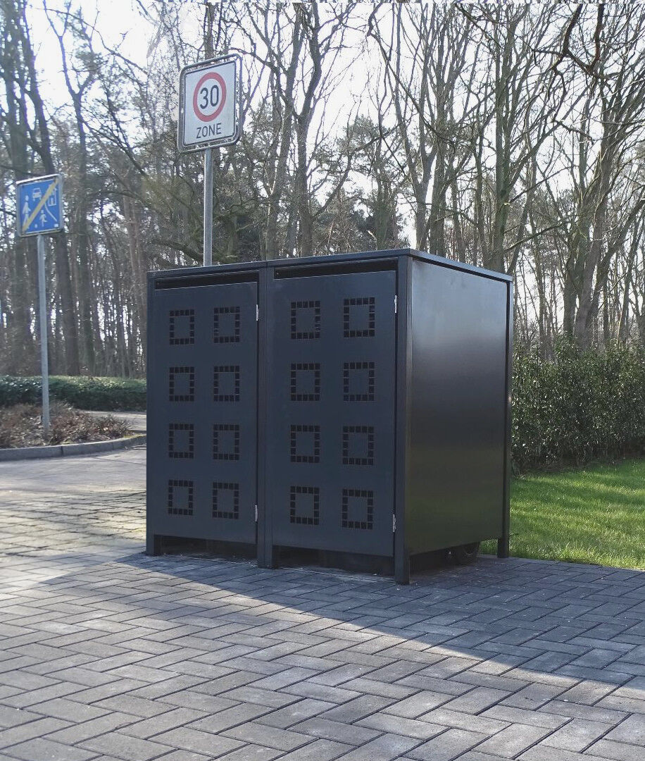 2 scatole dei rifiuti Modello No. 5 ANTRACITE COMPLETO ral7016 per 240 LITRI bidoni della spazzatura