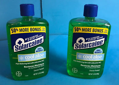 Sun Protection & Tanning Lot 2 Solarcaine Cool Aloe Burn Relief Formula 12oz Pain Relieving Lidocaine Hci Special Summer Sale