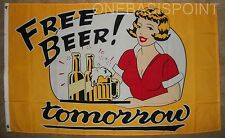 3'x5' FREE BEER TOMORROW FLAG COLLEGE PARTY GAMES DRINKS OUTDOOR INDOOR FUN 3X5