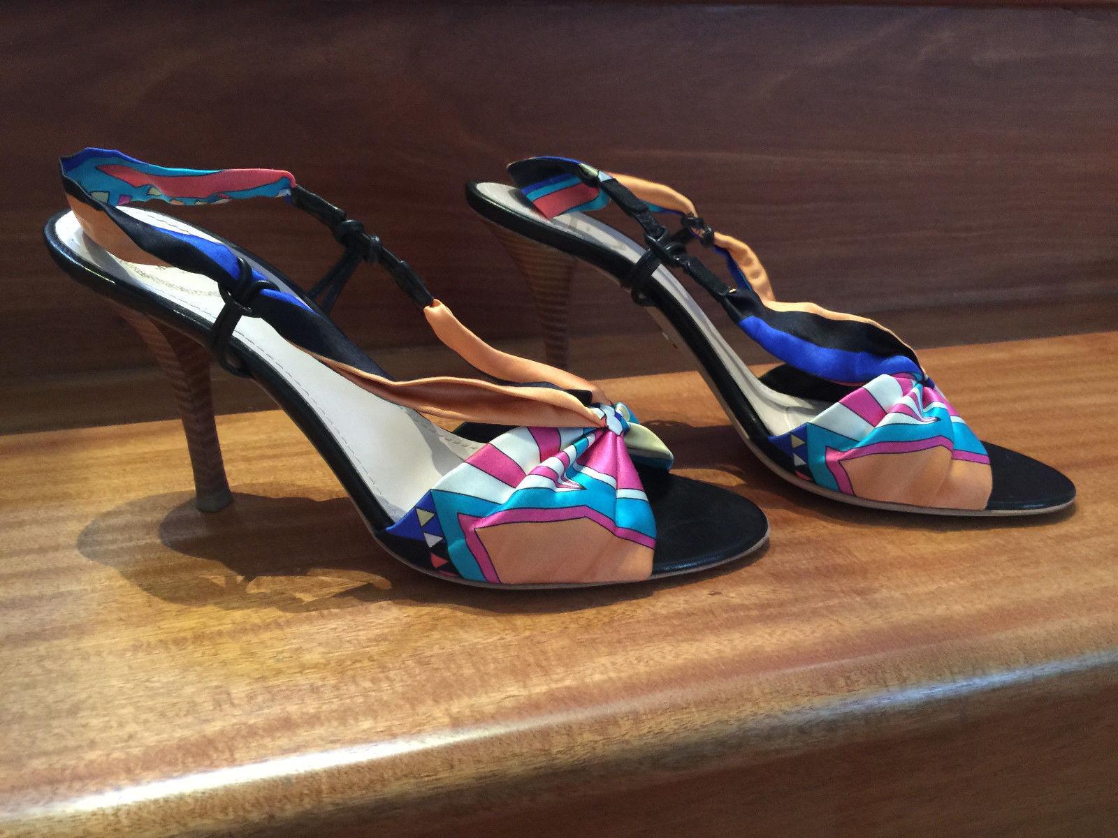 Emilio Pucci Designer Sandal Heels Silk Leather  38.5 with box  Excellent