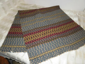 Vintage-Woven-Weaved-Fabric-Table-Runner-Blue-Tan-Red-Wool-53-034-x-22-5-034