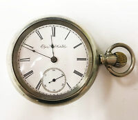 Elgin Size 18s Silver 15 Jewels 1888 Roman Numerals Stopwatch