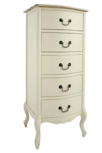 wholesale dealer fb737 3b02f Juliette Shabby Chic Champagne Tallboy French Narrow Cream Chest of Drawers  5