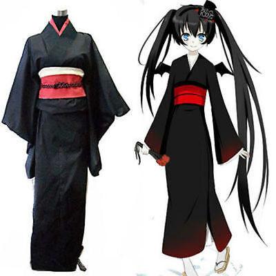 Japanese Traditional Women Black Furisode Kimono Dress Cosplay Costume Set