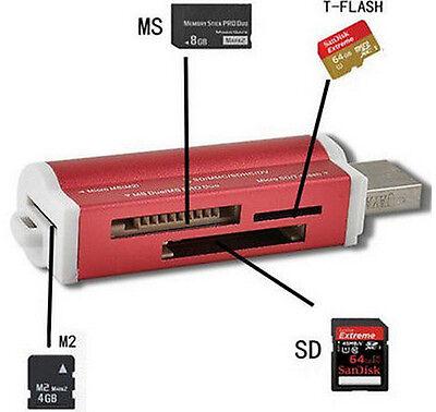 Mini Size USB 2.0 Micro SD TF M2 MS T-Flash Card Reader Adapter High Speed