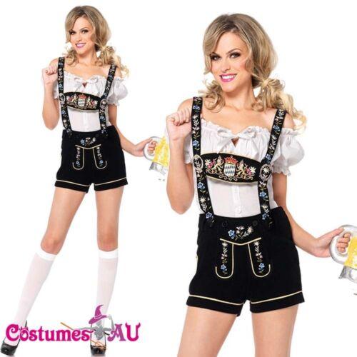 Ladies German Beer Maid Woman Oktoberfest Costume Lederhosen Party Gretchen