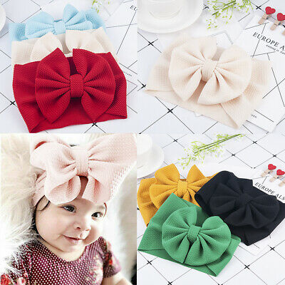 Cute Toddler Baby Girls Bow Headband Hairband Stretch Turban Knot Head Wrap New