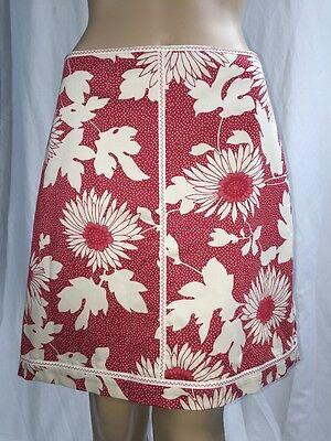 Bargain Ann Taylor LOFT Pencil Skirt Red  White Floral Print Vintage Inspired  Size 6
