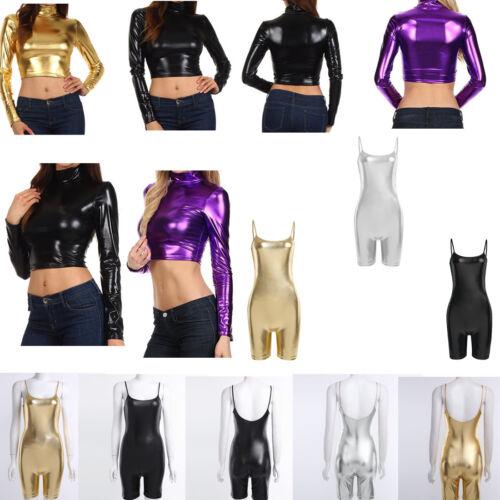 Womens Metallic Wetlook Mock Neck Turtleneck Long Sleeve Crop Top Stretch Shirt