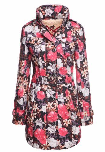 khujo Damen Mantel BOSTON rot Style Blumenmuster Fashionista Kurzmantel Coat