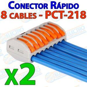 Conector-empalme-rapido-8-cables-32A-1000v-4mm-Tipo-Wago-PCT-218-Lote-2-unidad