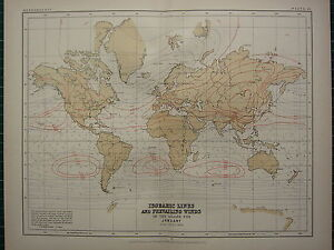 Details about 1892 VICTORIAN MAP ~ THE WORLD ISOBARIC LINES & PREVAILING  WINDS ~ JANUARY