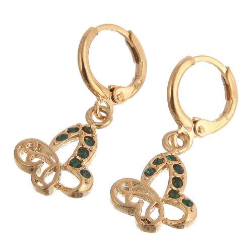 Pretty New 14K Yellow Gold Filled Emerald Green CZ Butterfly Dangle Earrings