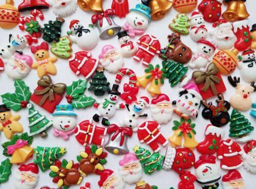 CHRISTMAS CABOCHONS 10//25//50-RESIN FLATBACK DECODEN 20-30mm-XMAS//SNOW//TREE//SANTA