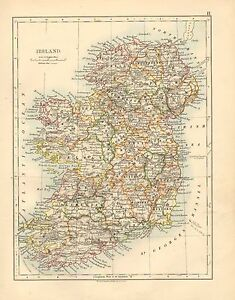 Donegal Map Of Ireland.1892 Victorian Map Ireland Limerick Wexford Kerry Mayo Donegal