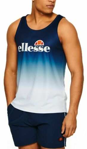 Ellesse Classic Figueral Sleeveless Vest Summer Sporty Faded Casual Tee Navy Med