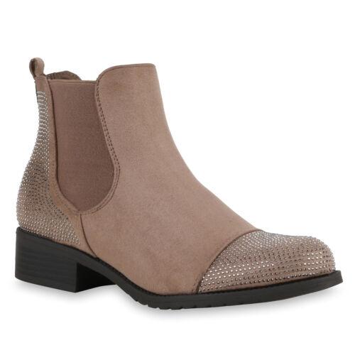 Strass Damen Chelsea Boots Profil Sohle Stiefeletten Leder-Optik 811743 Trendy