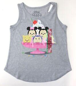 Disney-tsum-tsum-Print-Girls-039-Gray-Sleeveless-Tank-Tee-Shirt-Size-S