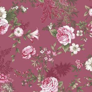 coupon-de-tissu-patchwork-shabby-gros-Bouquets-fond-framboise-45x55cm