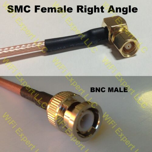 USA-CA RG174 SMC Female Angle to BNC MALE Coaxial RF Pigtail Cable