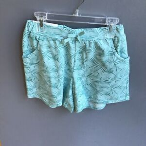 UNIQLO-Kids-Girls-Jersey-Easy-Shorts-Green-Fern-Print-NWT-9-90-SZ-13-COMFORT