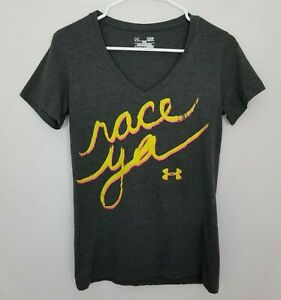 Under-Armour-Womens-Small-Fitted-T-Shirt-Race-Ya-V-Neck-Gray-Short-Sleeve-EUC