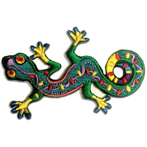 grün Aufnäher // Bügelbild Gecko Salamander Tier 9.4 x 6 cm