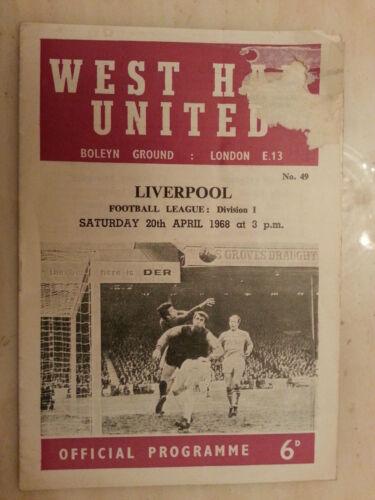 1967/68 Football League- WEST HAM UNITED v LIVERPOOL - 20th April