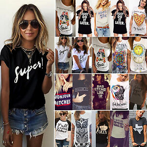 Womens-Summer-T-shirt-Letter-Printed-Short-Sleeve-Casual-Tee-Shirts-Tops-Blouse