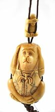 Vintage Bone Inro Netsuke Box Hanging Charm Case Storage Snuff No Evil Monkey