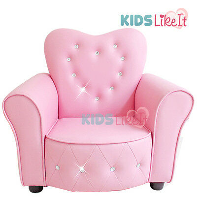 NEW* Deluxe GIRLS Pink PVC Leather / Love Heart CRYSTAL Little PRINCESS SOFA