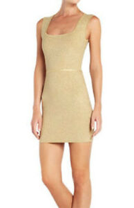 Image Is Loading 338 Bcbg Gold Combo Pepper Sleeveless Bandage Knit