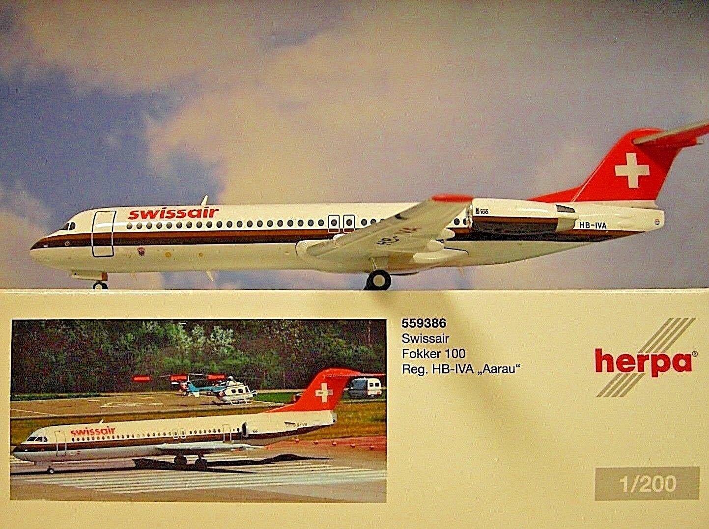 Herpa Wings 1 200 Fokker 100 Swissair Hb-Iva Aarau 559386