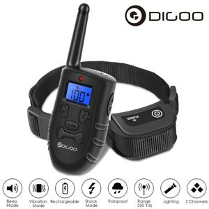 Digoo-Waterproof-LCD-Electric-Remote-Dog-Shock-Bark-Collar-Trainer-Training-300M