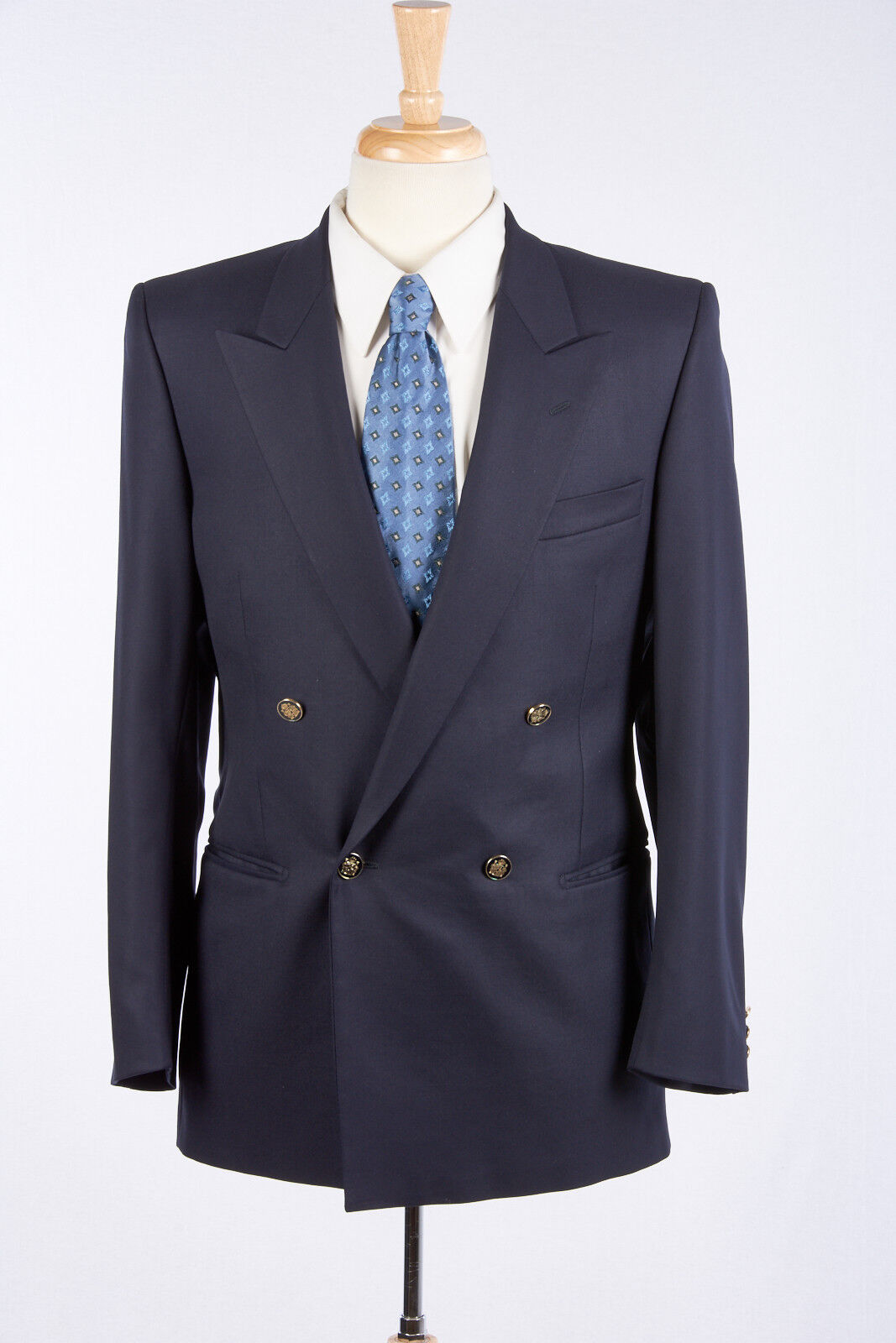 Herren Navy Blau Blazer 38 R Double Breasted by LUBIAM Logo Buttons Unvented