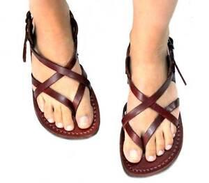 ed48f910053266 Image is loading Jerusalem-Biblical-Jesus-Sandals-Brown-Leather-Strap- Handmade-