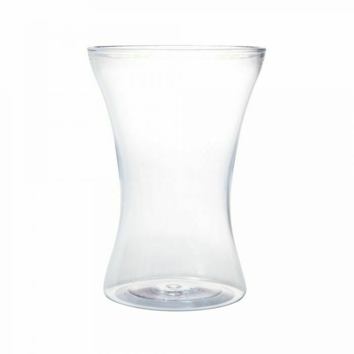 8  ACRYLIC PLASTIC HAND TIED VASE CLEAR 20cm Round Flower Table Wedding Event