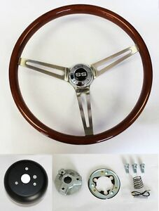 1966-Chevelle-64-66-Nova-Impala-Wood-Steering-Wheel-High-Gloss-15-034-SS-Center-Cap