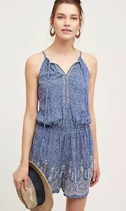 Ranna-Gill-Embroidered-Vines-Romper-Size-SP-PS-NWT-Blue