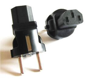 Kaltgeraetekupplung-C13-auf-Schukostecker-Adapter-IEC-Kaltgeraete-Buchse-Stecker