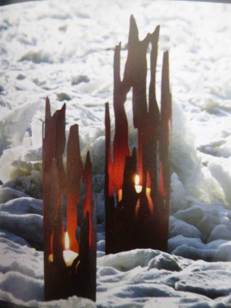 Edel óxido antorcha g flotante Jardín Terraza viento luz vela metal escultura decorativa