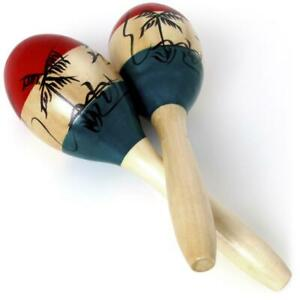 Pair Large Adult Wood Maracas Colourful Wooden Tropical Party Percussion Shakers