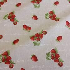 Stoff Meterware Erdbeeren Handschrift beige natur rot weiß Dekostoff Neu