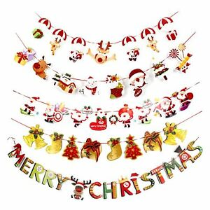 Buon Natale Glitter.Merry Christmas Santa Rudolf Snowman Glitter Banner Bunting Party