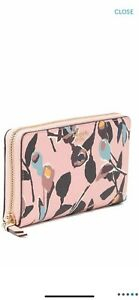 NWT Kate Spade Stacy Large Slim Bifold Wallet Cameron Paper Rose Pink Floral